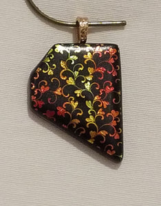 Vining Hearts Pentagon Etched Dichroic Fused Glass Pendant yellow to green to red to gold!