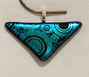 Large Bubbles on a Triangular Etched Teal Dichroic Fused Glass Pendant