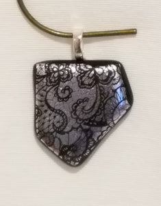 Pointed Victorian Lavender Lace Etched Dichroic Fused Glass Pendant