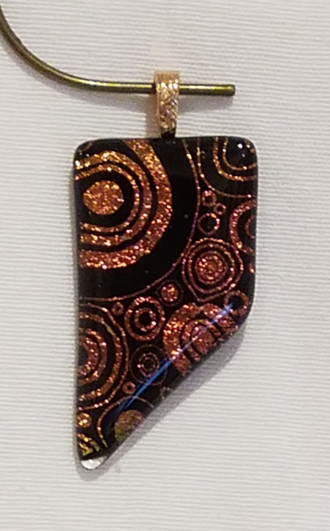 Capped Red/Gold Shimmer Rings Pointed Etched Dichroic Fused Glass Pendant