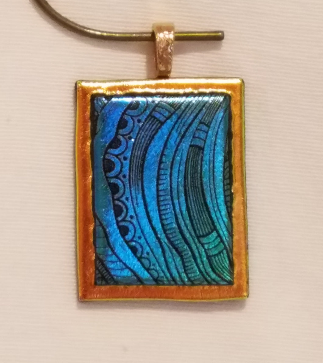 Caribbean Blue w/Etched Tribal Designs on Crinklized Gold Dichroic Fused Glass Pendant