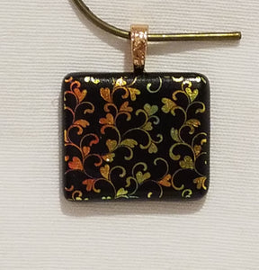 Rectangle Gold & Yellow Vining Hearts Etched Dichroic Fused Glass Pendant