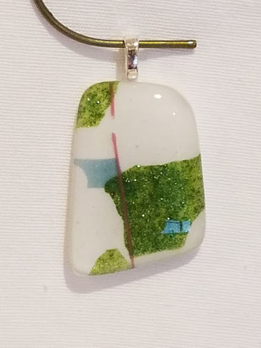 Spring Green Confetti on White Fused Glass Pendant