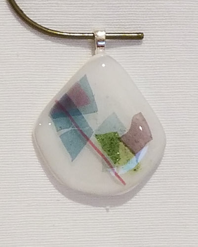 Mauve, Green & Blue on White Fused Glass Pendant