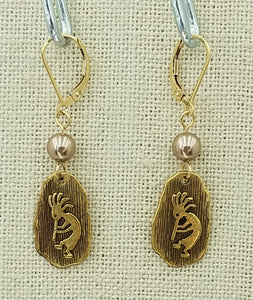 Gold Finish Pewter Kokopelli Petroglyph & Bronze Swarovski Pearl Leverback Earrings