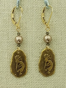 Lead Free Gold Finish Pewter Kokopelli Petroglyph & Bronze & Black Diamond Swarovski Leverback Earrings - 2 1/8""