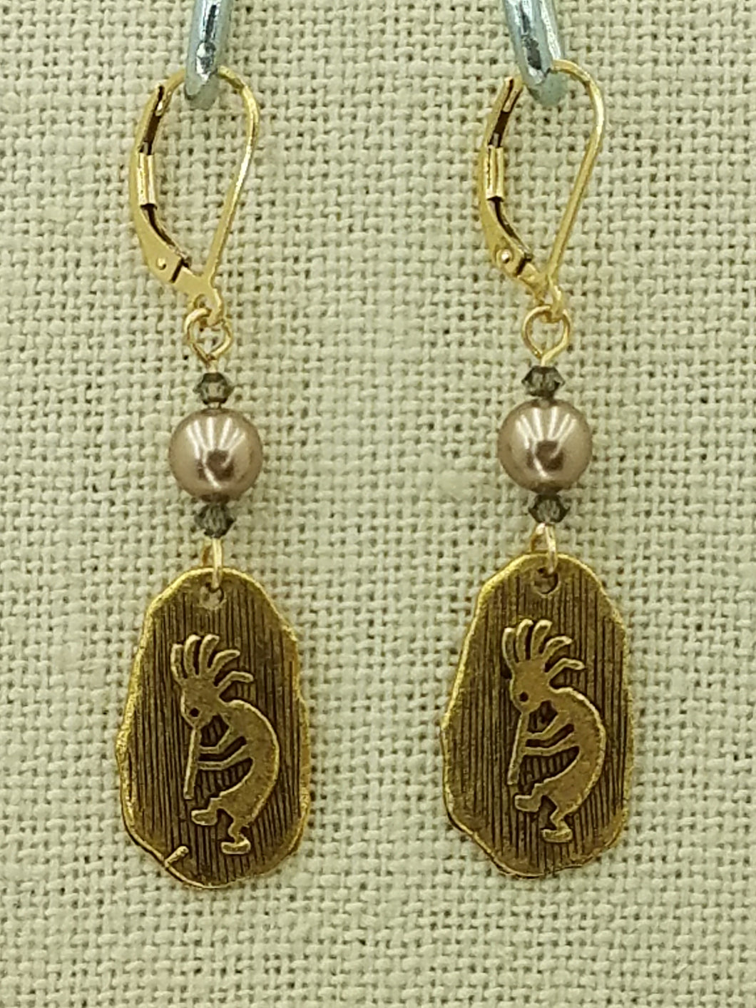 Lead Free Gold Finish Pewter Kokopelli Petroglyph & Bronze & Black Diamond Swarovski Leverback Earrings - 2 1/8