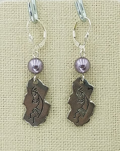 Lead Free Pewter Kokopelli Petroglyph & Mauve Swarovski Pearl & Sterling Silver Leverback Earrings - 2 1/4""
