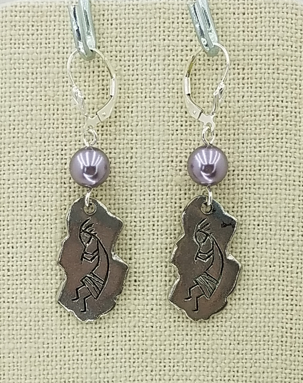 Lead Free Pewter Kokopelli Petroglyph & Mauve Swarovski Pearl & Sterling Silver Leverback Earrings - 2 1/4