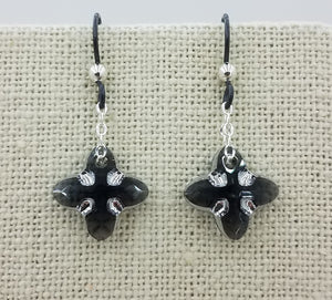 Large Swarovski Graphite & Light Chrome Tribe pendants on Noibium Fish Hook Earrings