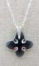 Large Swarovski Graphite & Light Chrome Tribe pendant on a Sterling Silver chain. Lobster Clasp