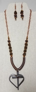 Copper, Ceramic, & Swarovski Necklace w/Horseshoe Nail Cross/Heart Pendant & Fish Hook Earrings