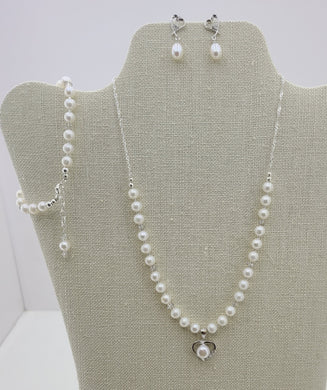 Natural White Freshwater Pearl Heart on FW Pearls & Sterling Silver Chain, Earrings, & Bracelet