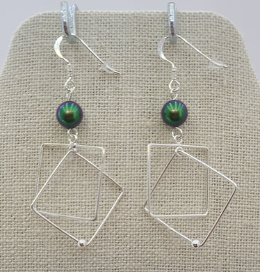 Scarabaeous Green & Sterling Silver Square & Diamond Dangle Fish Hook Earrings
