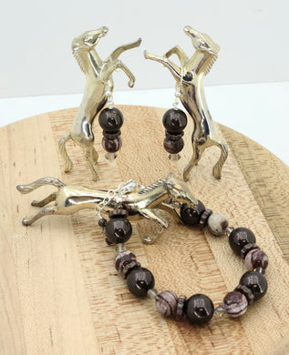 Dark brown crystal pearls, Australian zebra jasper, copper ceramic, and crystals* combine in this rich (like chocolate) bracelet & earrings