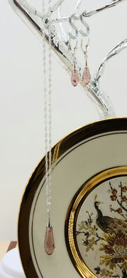 Blush Rose Pure Drop Crystal Pendant Necklace & Earrings