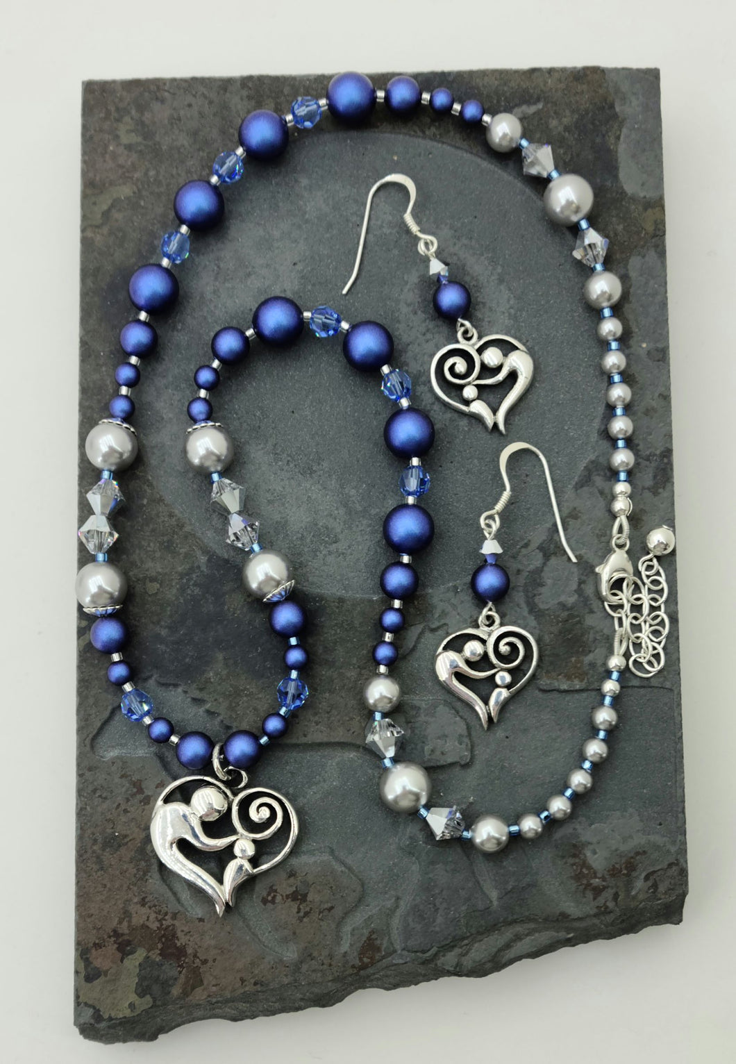 Mother/Child Heart with Iridescent Dark Blue & Silver Necklace & Fish Hook Earrings