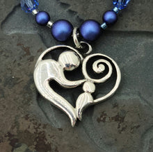Mother/Child Heart with Iridescent Dark Blue & Silver Necklace & Earrings