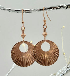 Corrugated Copper Donut Fish Hook Earrings