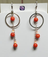 Coral-Redlip-Shell-Heishi-Miyuki-Delica-Sterling-Silver-Earrings