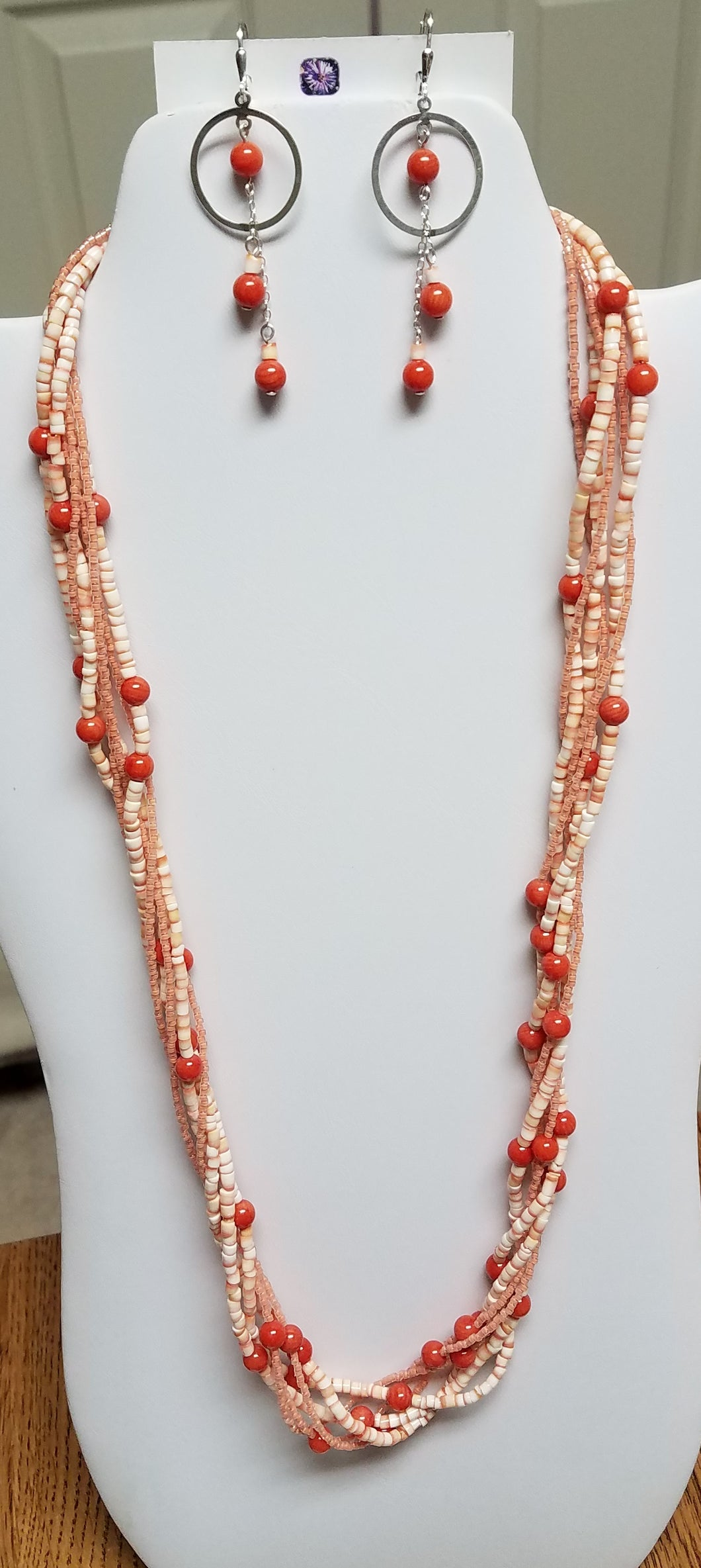 Twisted-Coral-Redlip-Shell-Heishi-Miyuki-Delica-Sterling-Silver-Necklace-Earrings
