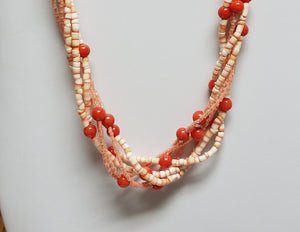 Twisted-Coral-Redlip-Shell-Heishi-Miyuki-Delica-Sterling-Silver-Necklace