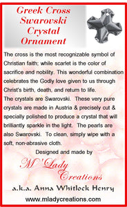 Christmas-Ornament-Swarovski-Greek-Cross-Red-Scarlet-description-card