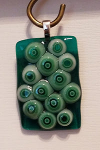 Fused-glass-pendant-green-millifiori
