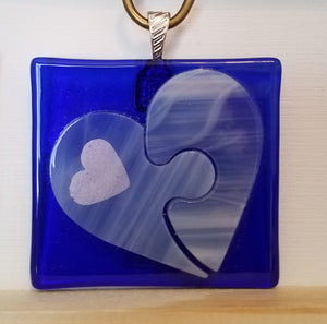 Translucent White on Blue Puzzle Piece Heart Fused Glass Pendant