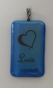 Heart w/Scripted LOVE Fused Glass Pendant