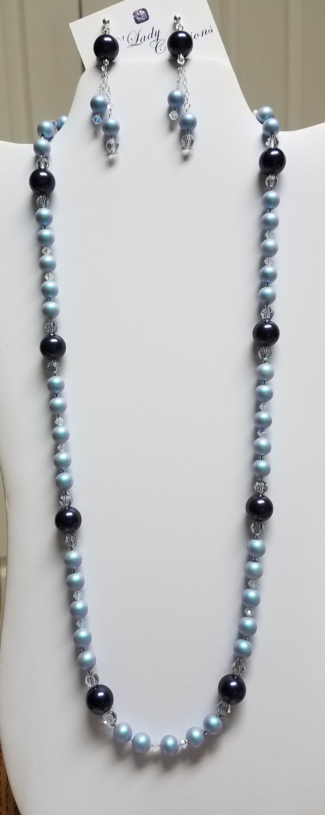 Iridescent-Light-Blue-Night-Blue-Swarovski-Pearl-Crystal-Necklace-Earrings