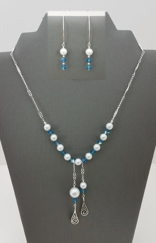 Celtic Swirls w/Swarovki Indicolite Crystals & Dove Grey Pearls Necklace & Earrings