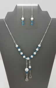 Celtic Swirls w/Indicolite Crystals & Dove Grey crystal Pearls Necklace & Earrings