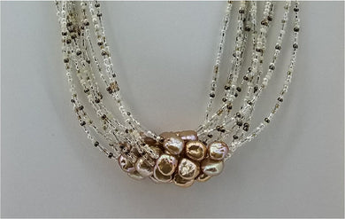 Rose Gold Freshwater Pearls, Miyuki Seed Beads, &  Crystals 10-Strand Necklace