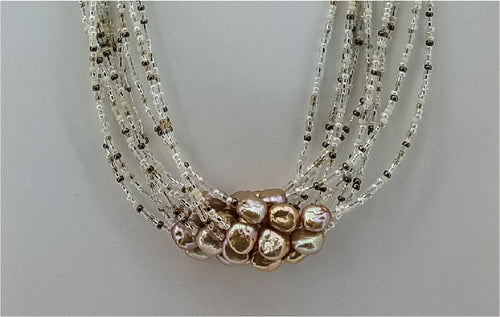 Rose Gold Freshwater Pearls, Miyuki Seed Beads, &  Swarovski Crystals 10-Strand Necklace