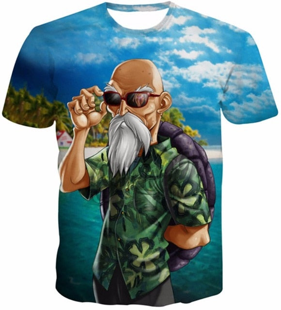 38a676250723 New Arrival Funny Master Roshi 3d T ...Shirt Summer Hipster Short Sleeve  Tee Tops Men Women Anime Dragon Ball Z T-Shirts Homme
