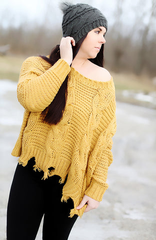 Almond Cable Knit Sweater
