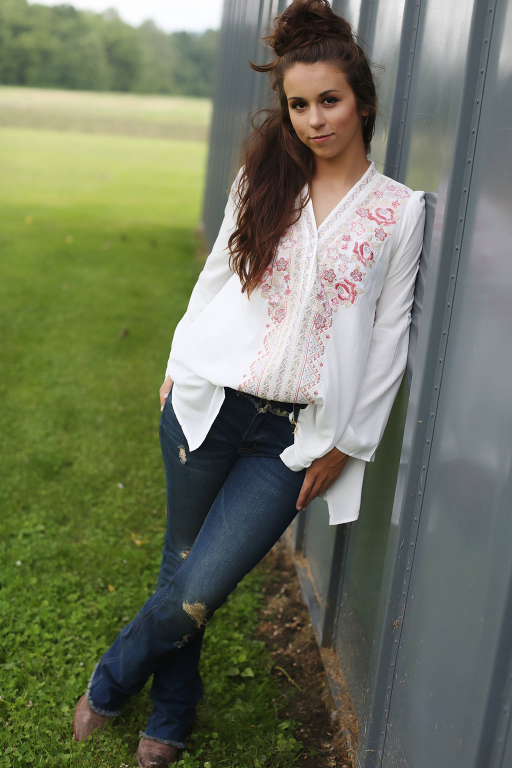 Wild Rose Embroidery Top