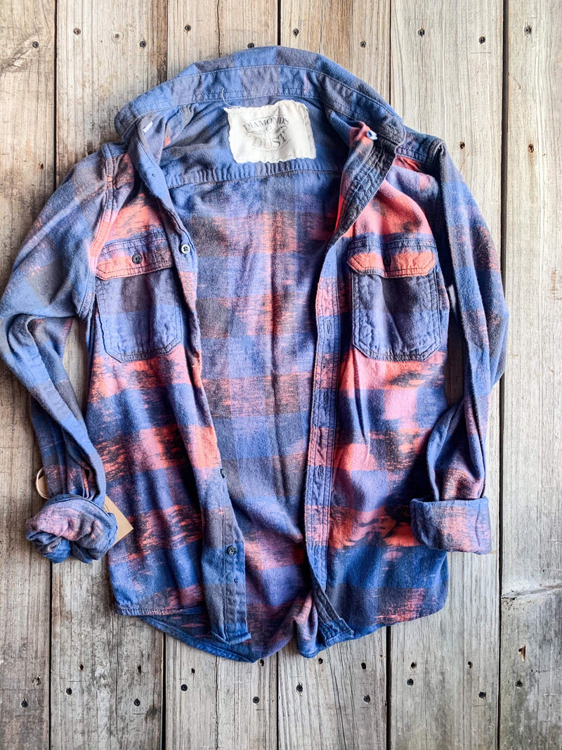 Vintage Royal Blue & Pink Flannel