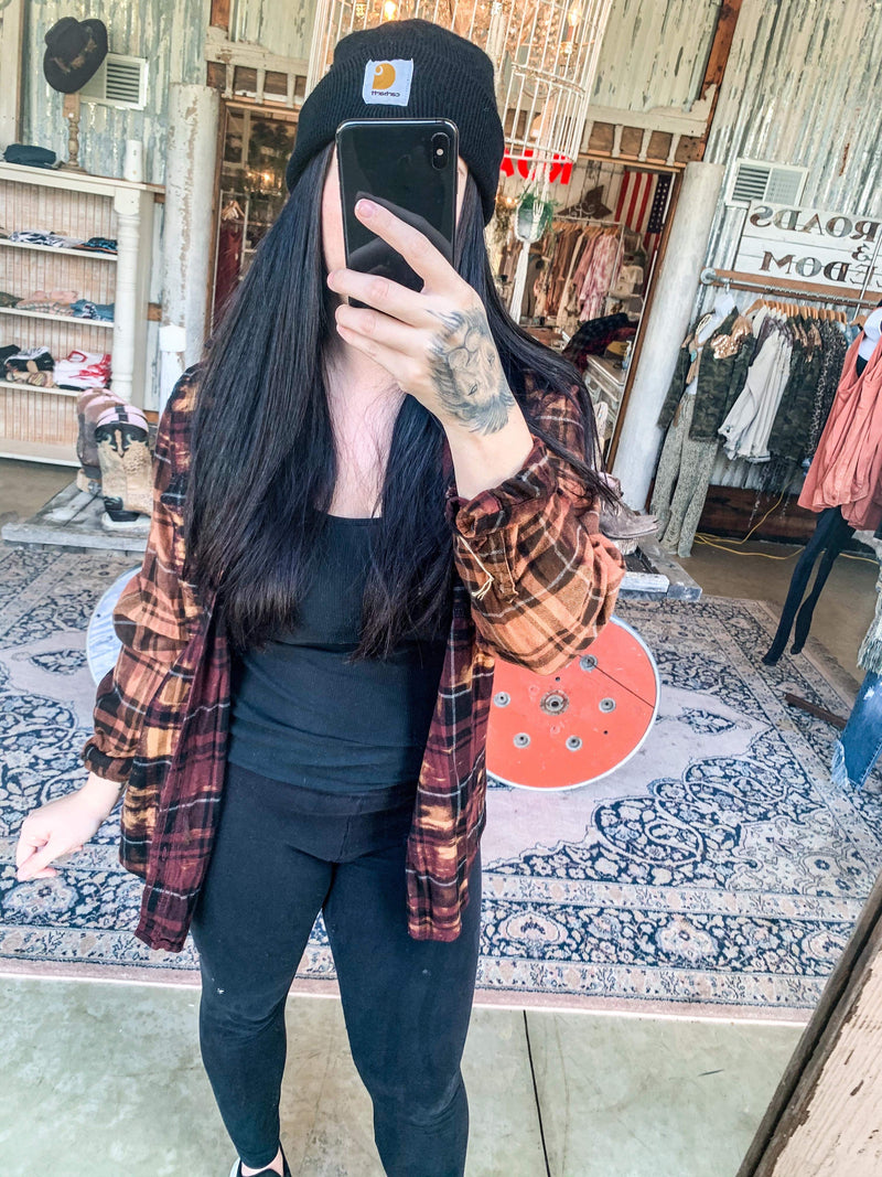 Vintage Black, Maroon & Orange Flannel