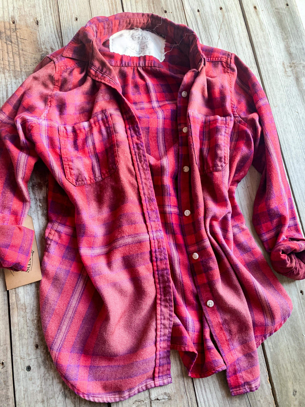 Vintage Red, Purple & Pink Flannel