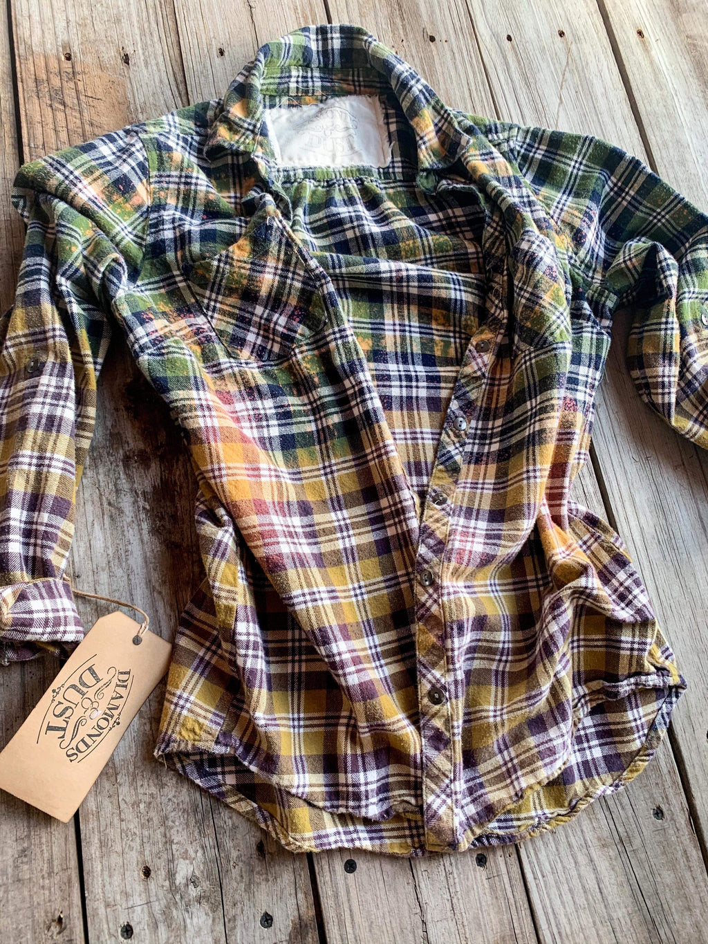 Vintage Green, Brown & Orange Flannel