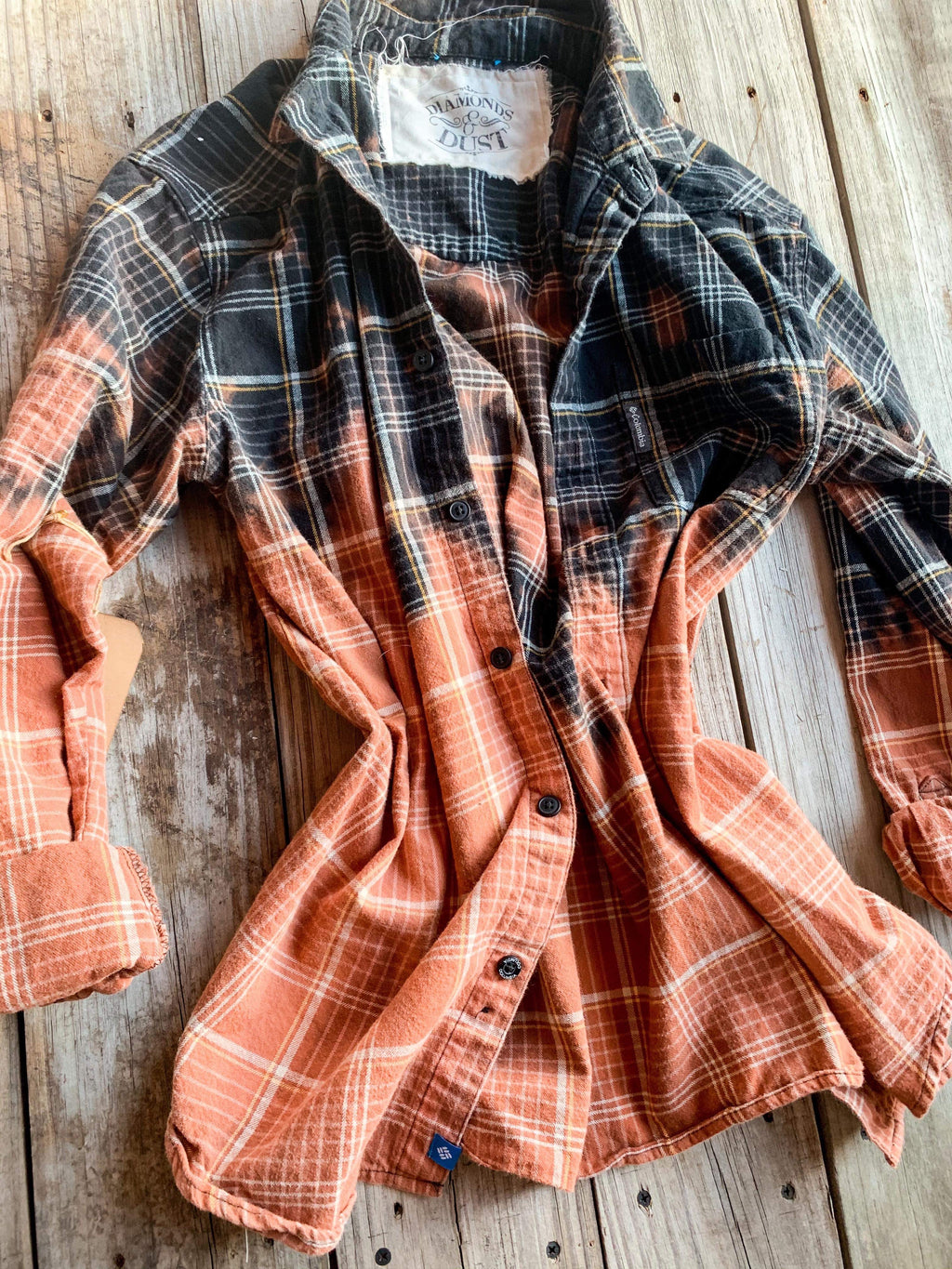 Vintage Black, Orange & Ivory Flannel