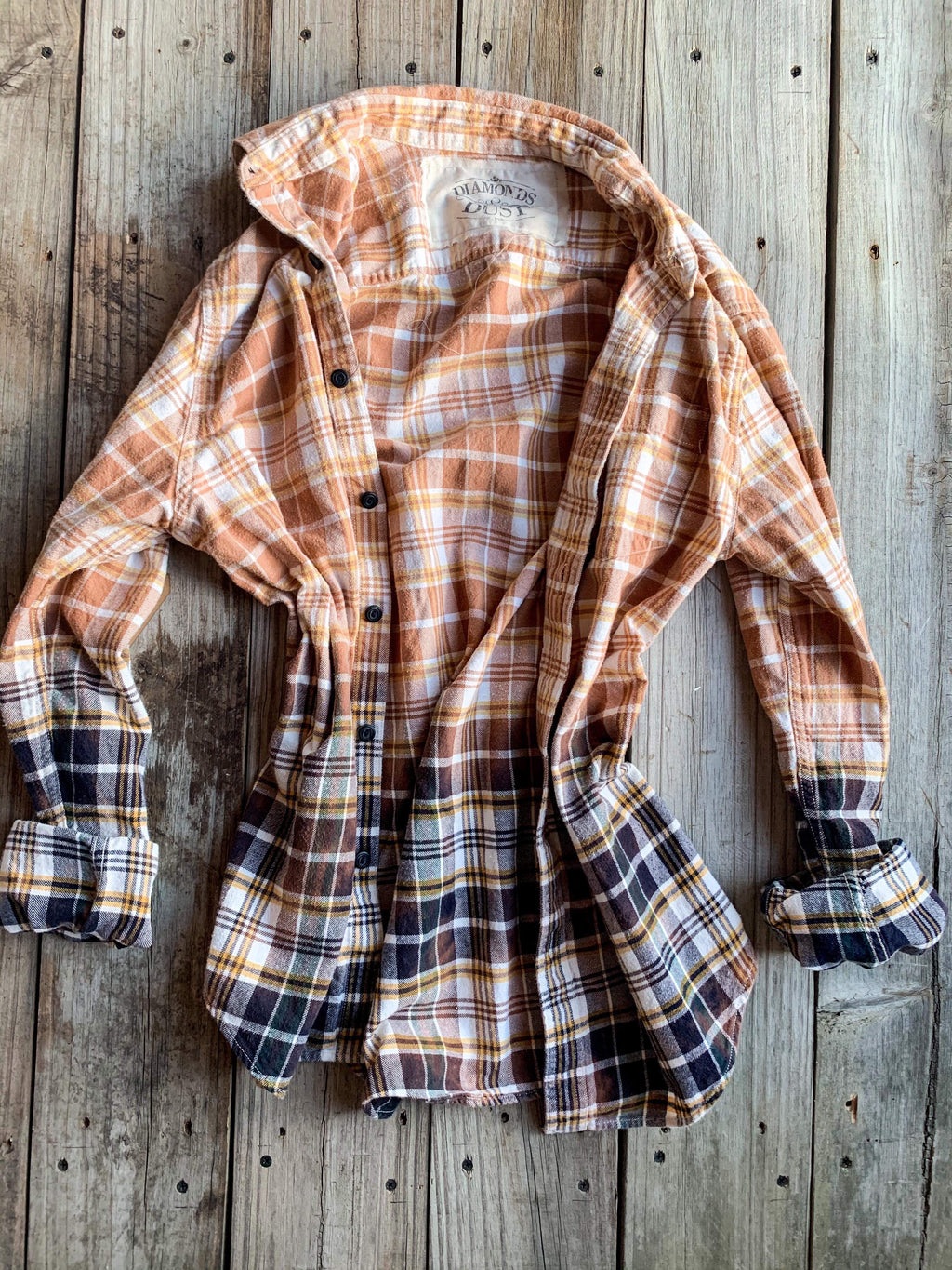 Vintage Tan, Gold & Navy Blue Flannel