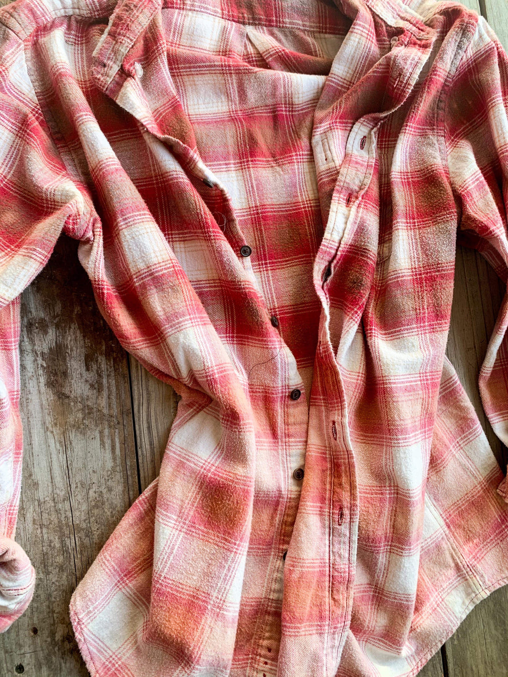 Vintage Red, White & Pink Flannel