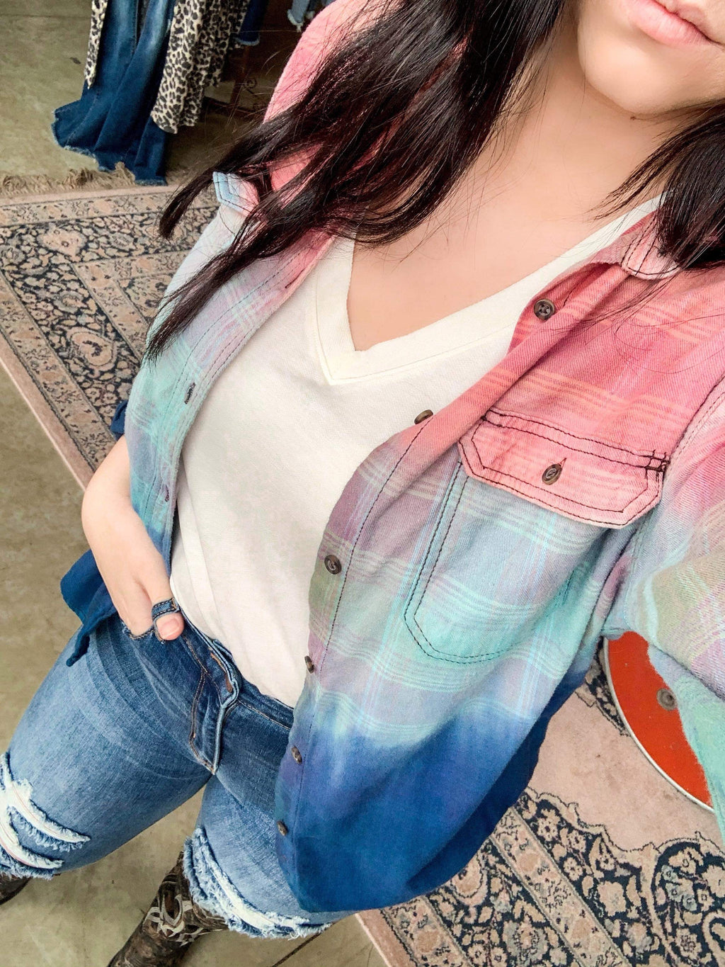 Cotton Candy Dip Dyed Flannel