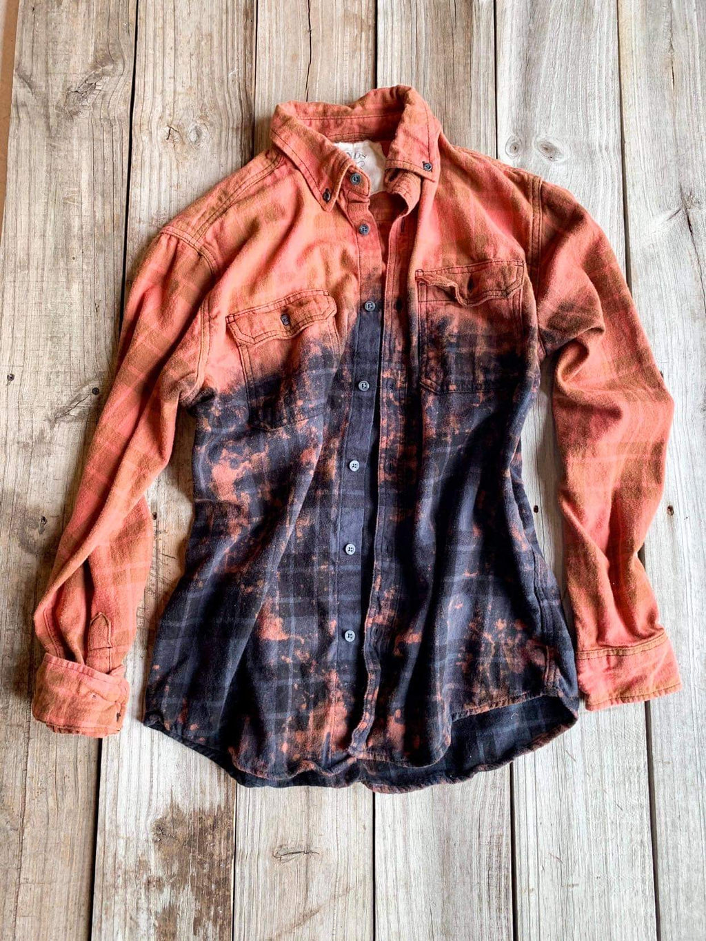 Vintage Rust & Black Flannel - Medium