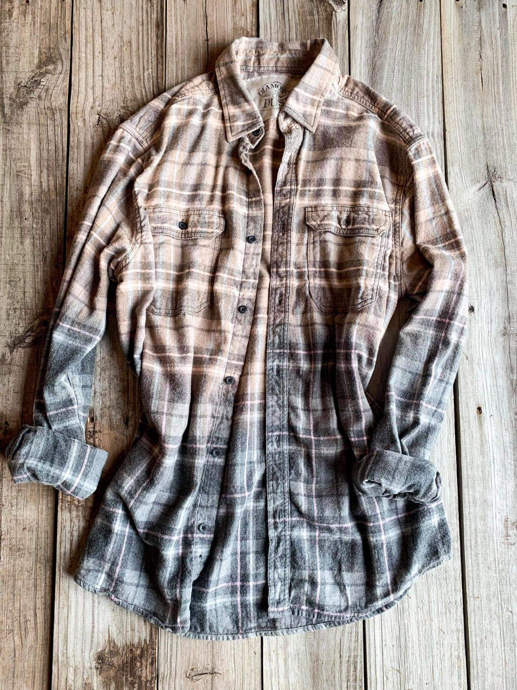 Vintage Light Brown, Grey & Pink Flannel - Large