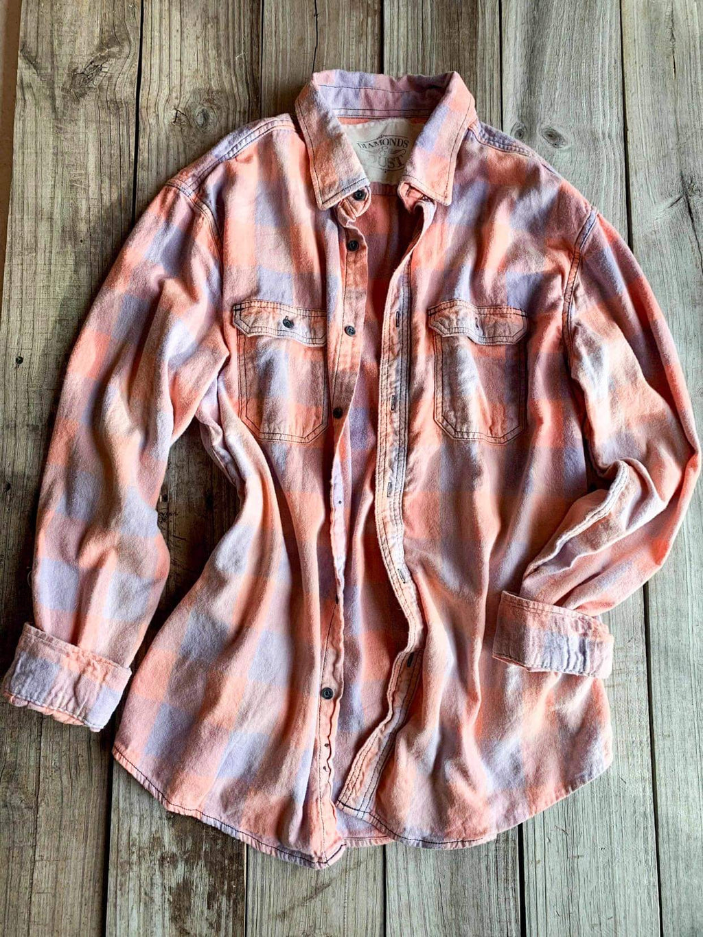 Vintage Pink, Purple & Tan Flannel - XLarge