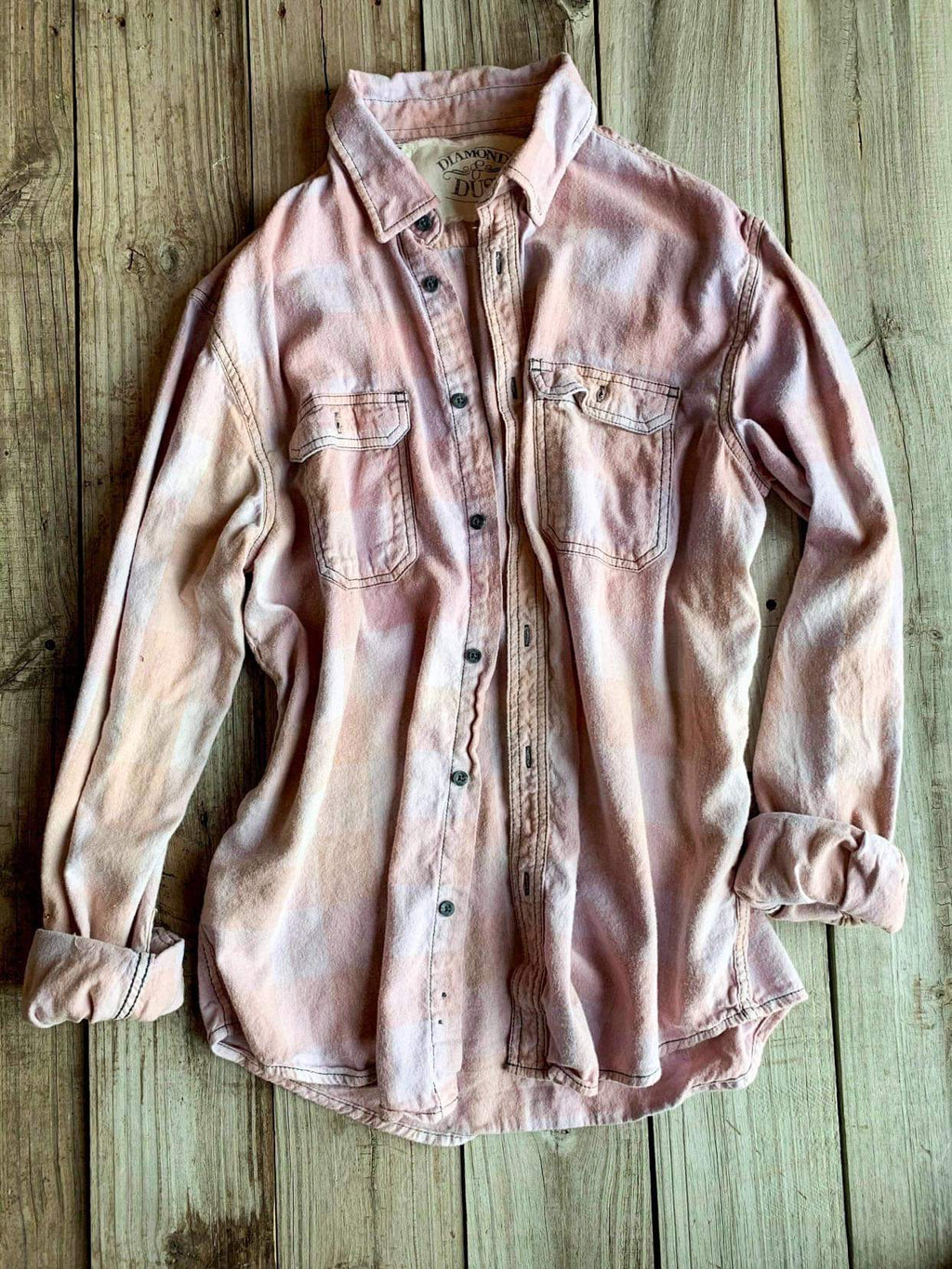 Vintage Light Lavender & Tan Flannel - Large